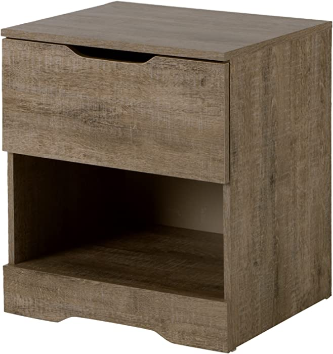 South Shore Trinity 1-Drawer Nightstand, Weathered Oak with Cut-Out Handles