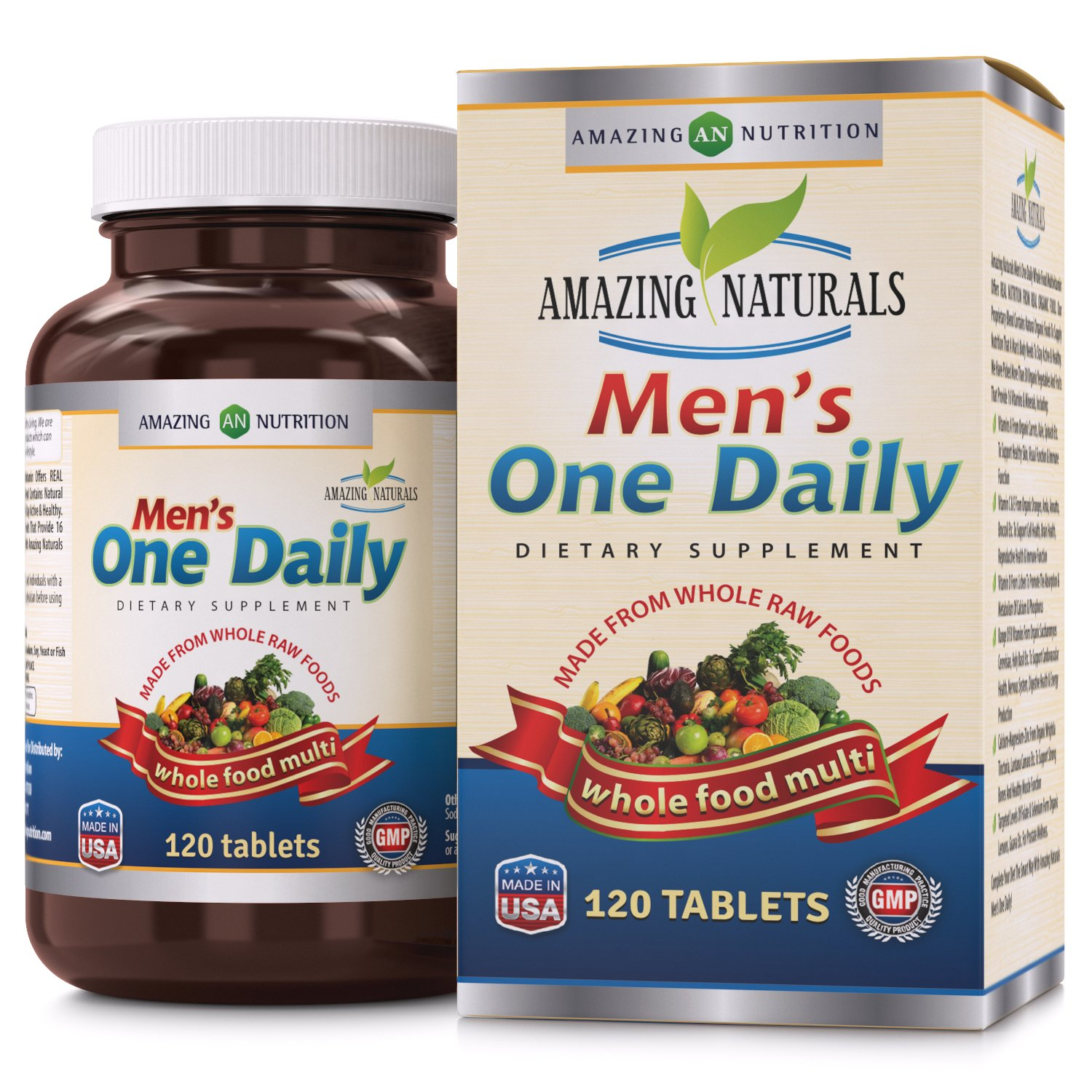 Amazing Naturals MEN S ONE DAILY Multivitamin * Best Raw Whole Food Multivitamins For Men * 120 Tablets Per Bottle. Packed With The Goodness Of Over 30 Organic Vegetables And Fruits