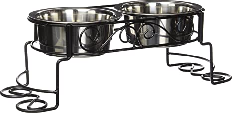 Raised Dog Cat Bowls 2 Stainless Steel Dishes Food Water Black Cast Iron Stand