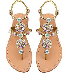 481e9cc413a11 Mystique Original Genuine Leather Women s Handmade Gold Jeweled    Embellished Crystal Ankle Strap Flat Wedding Sandals