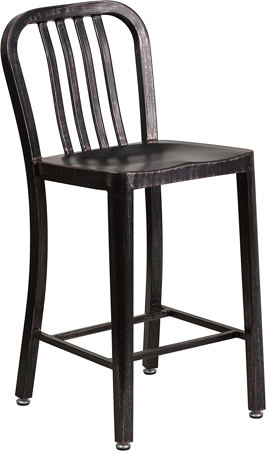 "Flash Furniture Commercial Grade 24"" High Black-Antique Gold Metal Indoor-Outdoor Counter Height Stool with Vertical Slat Back"