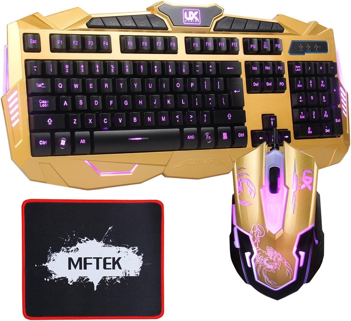 MFTEK USB LED Rojo/Azul /Púrpura Ajustable Design luminosa Gaming Teclado y ratón iluminada para el ordenador portátil de escritorio Gamers Trabajar ...