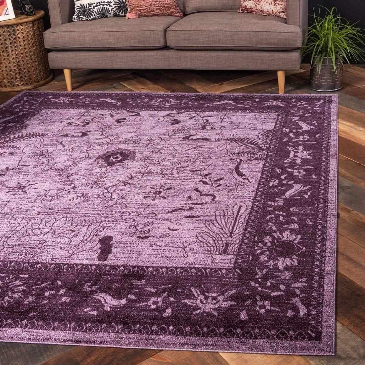Unique Loom La Jolla Collection Tone-on-Tone Traditional Purple Square Rug 8 0 x 8 0