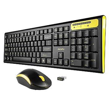 Teclado Mofii inalámbrico de tamaño completo y ratón para PC y Mac, con escritura silenciosa y resistente al agua negro y amarillo Black and Yellow: ...