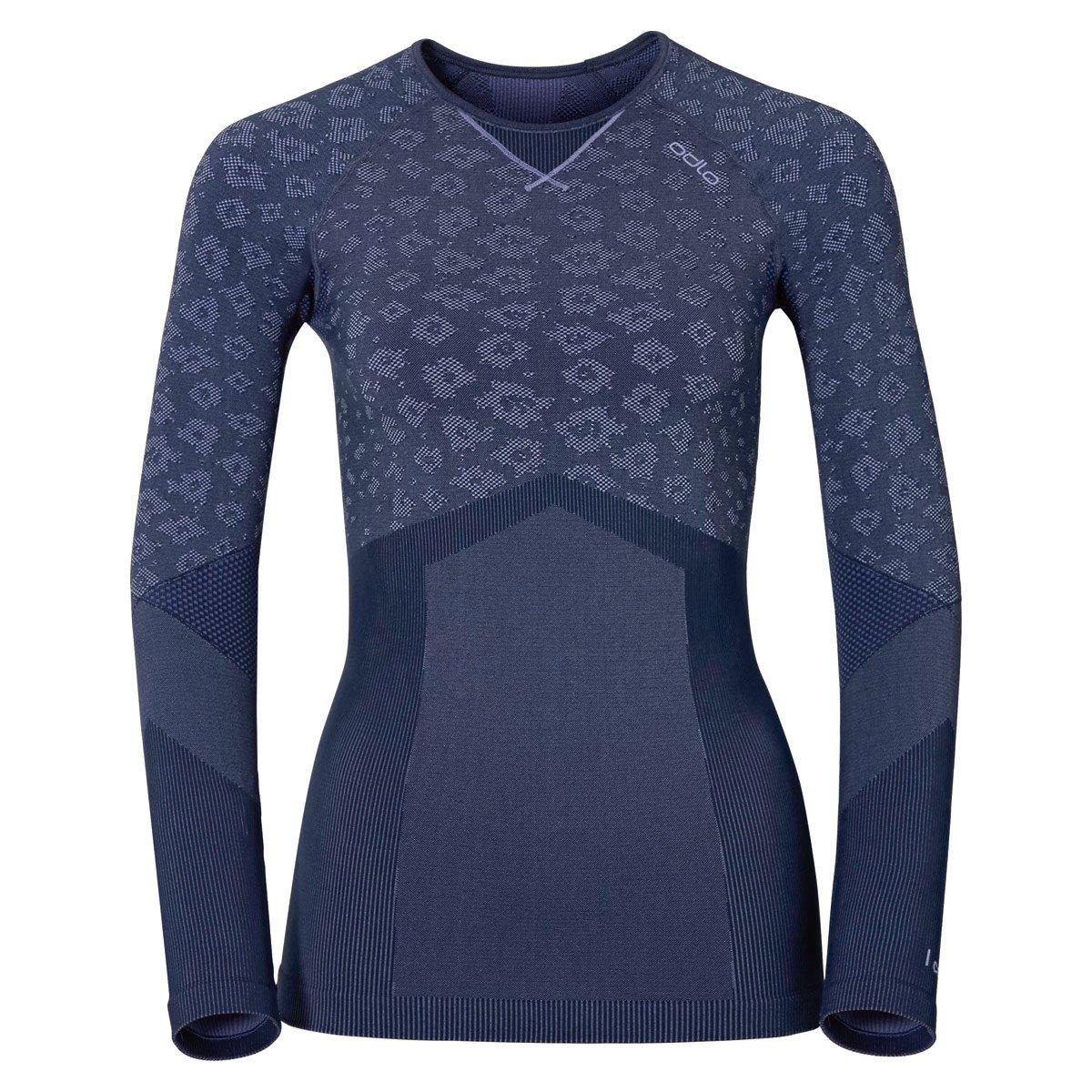 Odlo Damen Long Sleeve Shirt Crew Neck Blackcomb Evolution Dusted Peri Melange-Navy New XS 170951