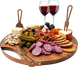 Magnetic Cheeseboard With Serving Utensils by Choosy Chef – Includes a Guide to Best Wine and Cheese Pairings (14 Inch, Extra Large, Brushed Copper)