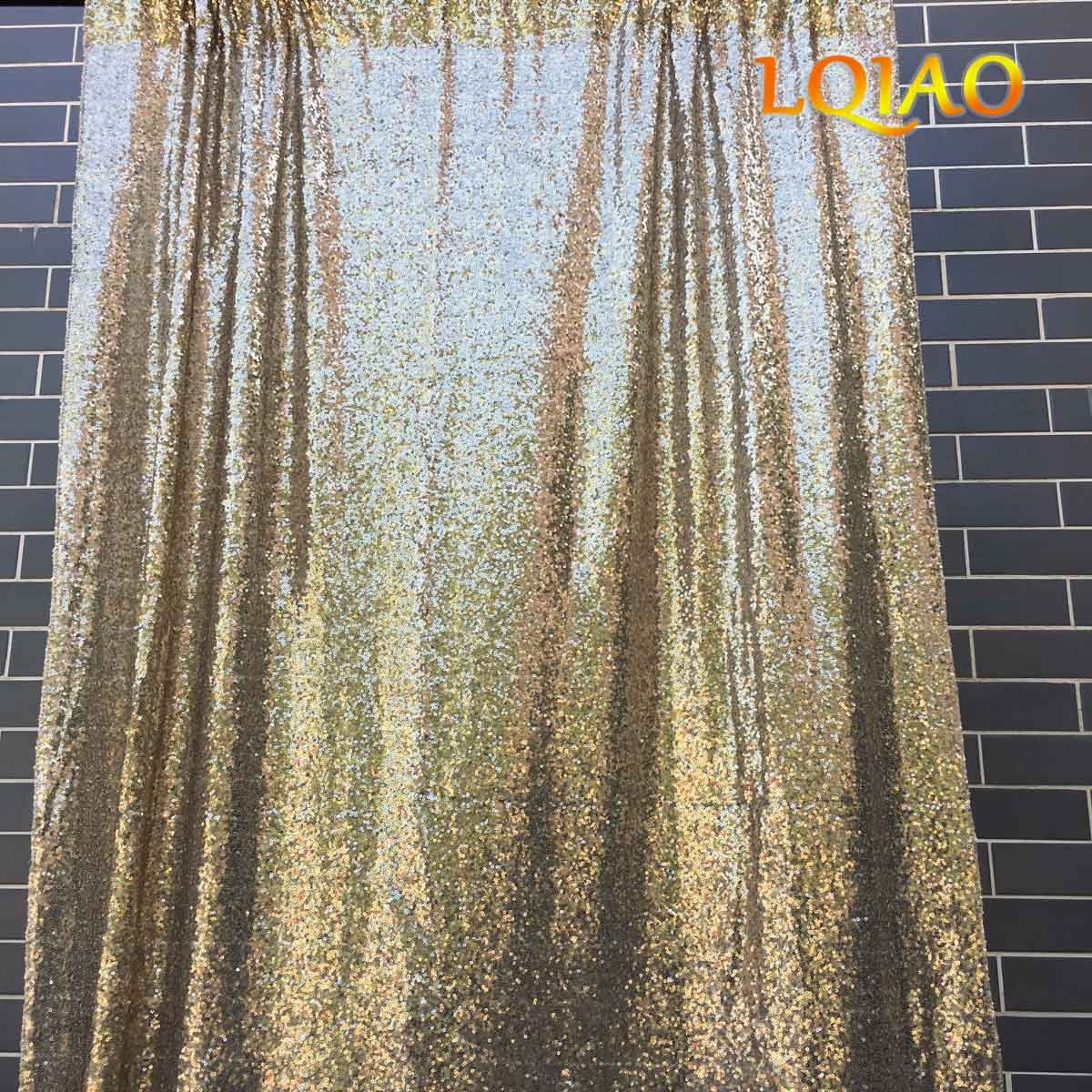 LQIAO 20ftx10ft Light Gold Sequin Backdrop for Wedding Photobooth Backdrop Sequin Curtain Photography Backdrop Decoration by LQIAO