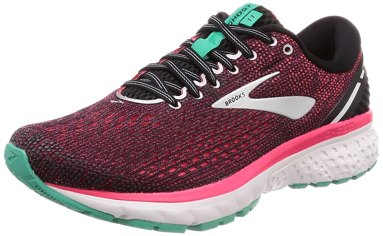 Brooks Women's Ghost 11 Running Sneakers B078BS39C5 5 B(M) US|Black/Pink/Aqua