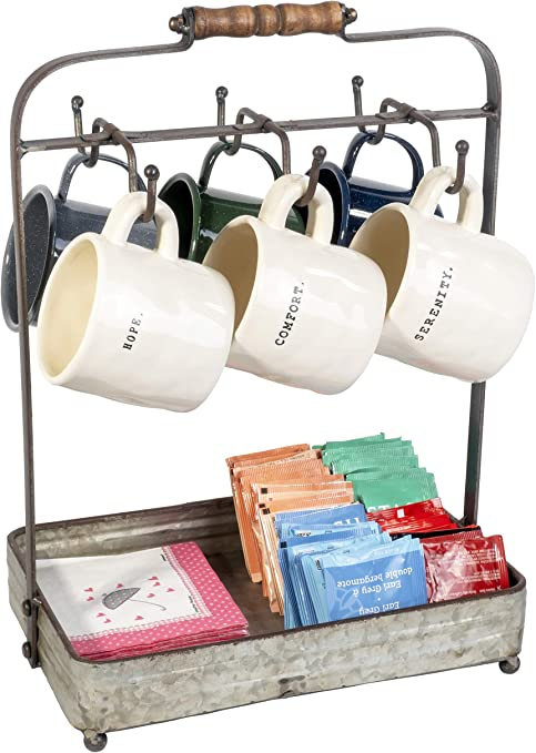 country rustic galvanized tabletop mug rack with hooks and tray coffee tea sugar organizer 17 inches tall