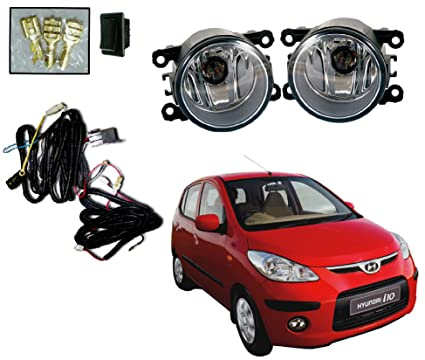 Auto Pearl Fog Light with Wiring Kit and Switch for Hyundai i10 (Set of 2)