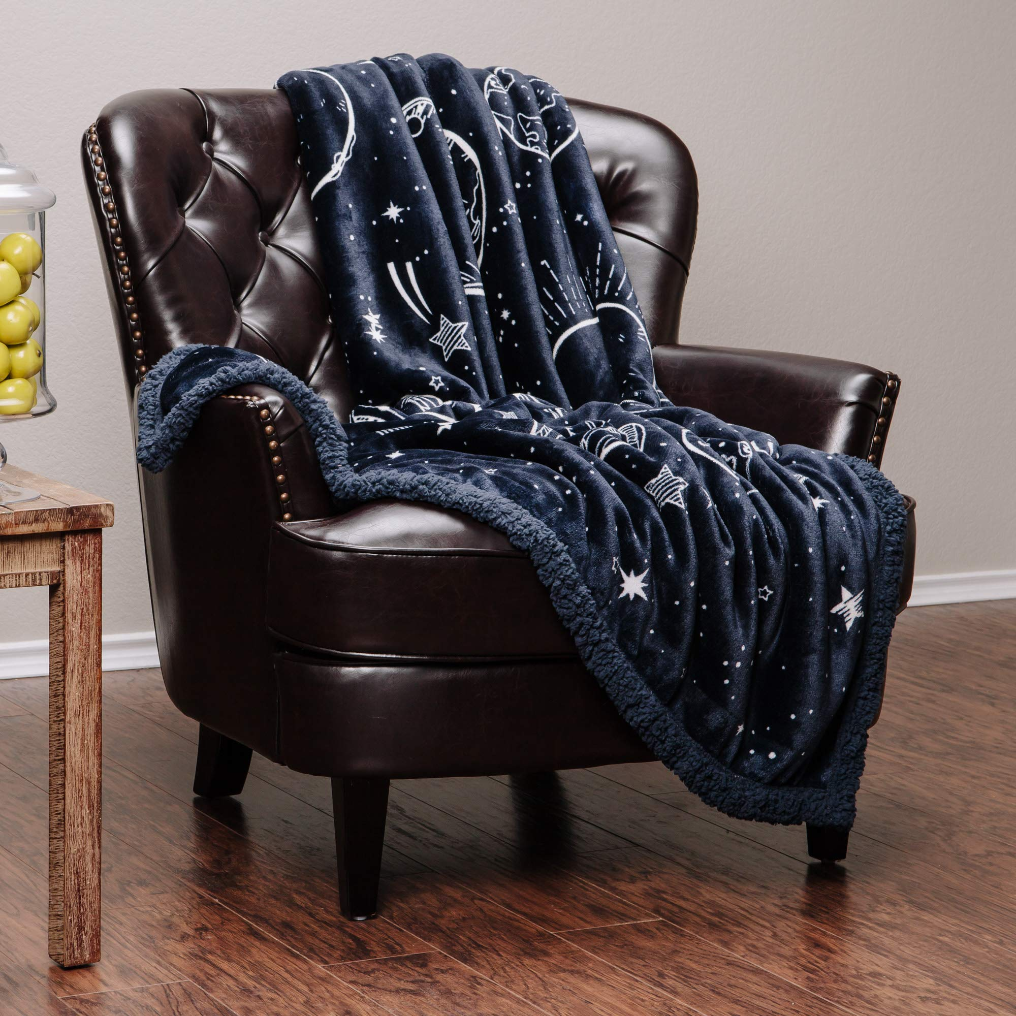 Chanasya Super Soft Solar System Galaxy Star Space Print Throw Blanket| Featuring All Nine Planets Orbiting The Sun Including Pluto Dark Navy Charcoal Reversible Blanket for Bed Couch Chair -DarkNavy