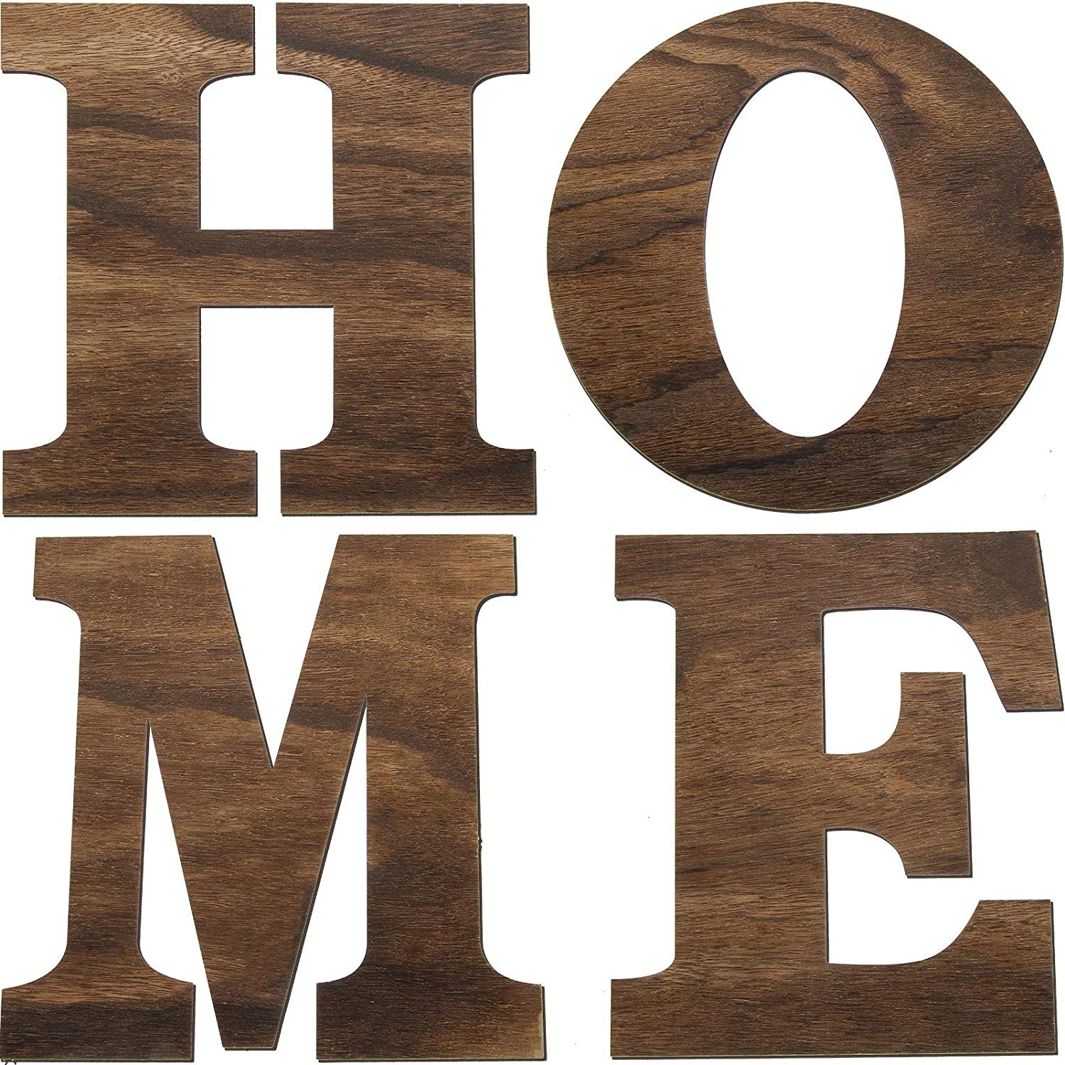 4 Pieces 12 Inch Wooden Home Letters Large Home Sign for Home Wall Decoration (Brown)