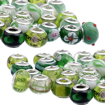 .925 Core European Style Green Faceted #M64 Murano Lampwork Bead