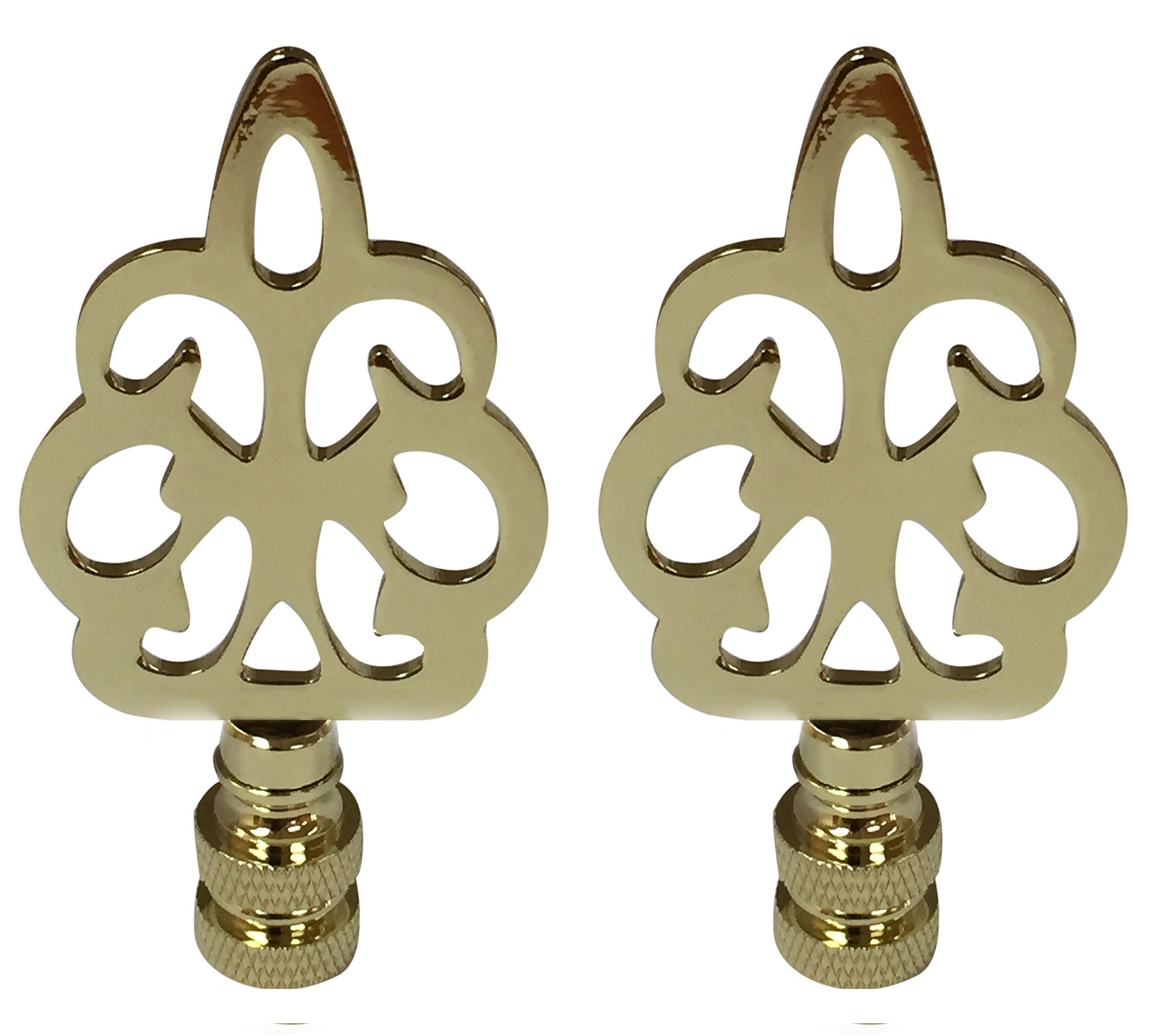 Royal Designs Open Filigree Motif Lamp Finial for Lamp Shade- Polished Brass Set of 2