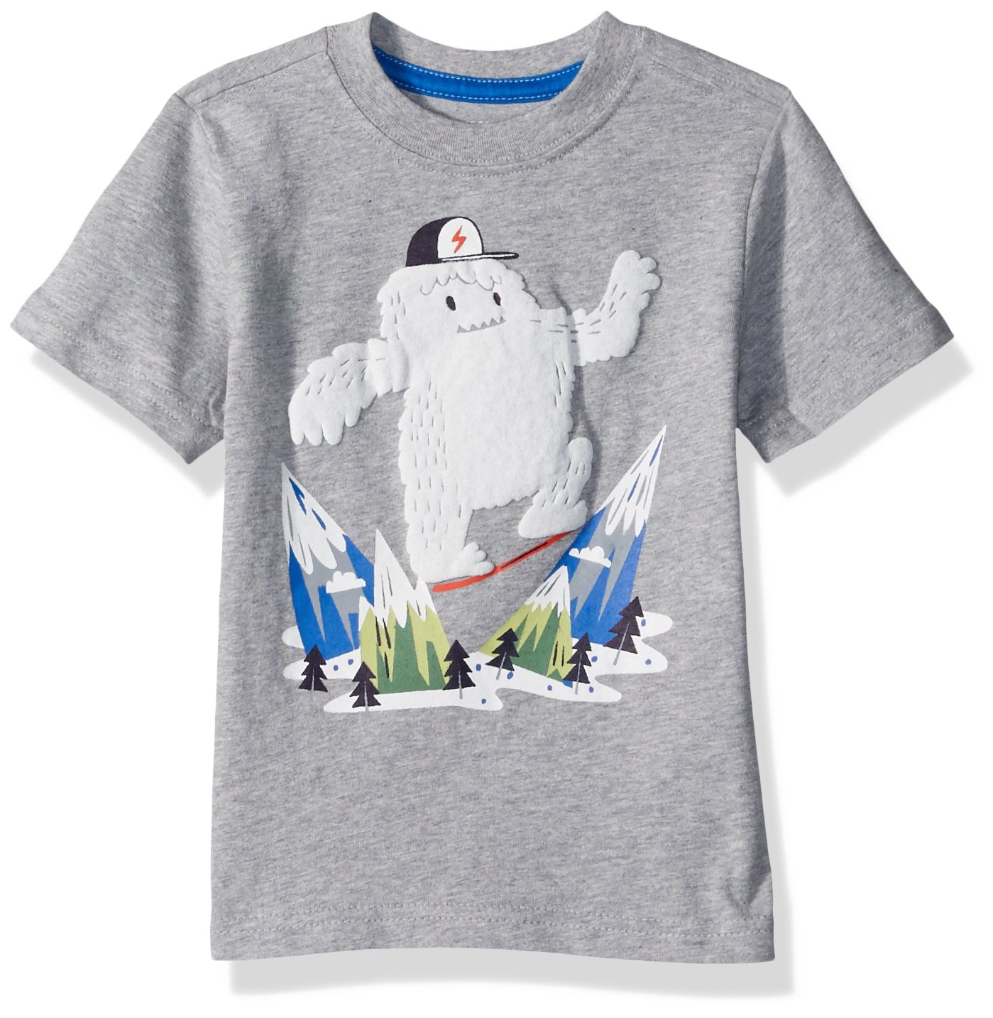 Gymboree Toddler Boys' Short Sleeve Printed Tee, Light Heather Grey, 18-24 Mo