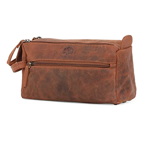 Leather Wash Bag for Men - Handcrafted Toiletry Bag for all your Travel  Toiletries (Brown)  Amazon.co.uk  Luggage c972704b312c2