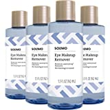 Amazon Brand - Solimo Eye Makeup Remover, Removes Waterproof Mascara, Dermatologist Tested, 5.5 Fluid Ounce (Pack of 4)