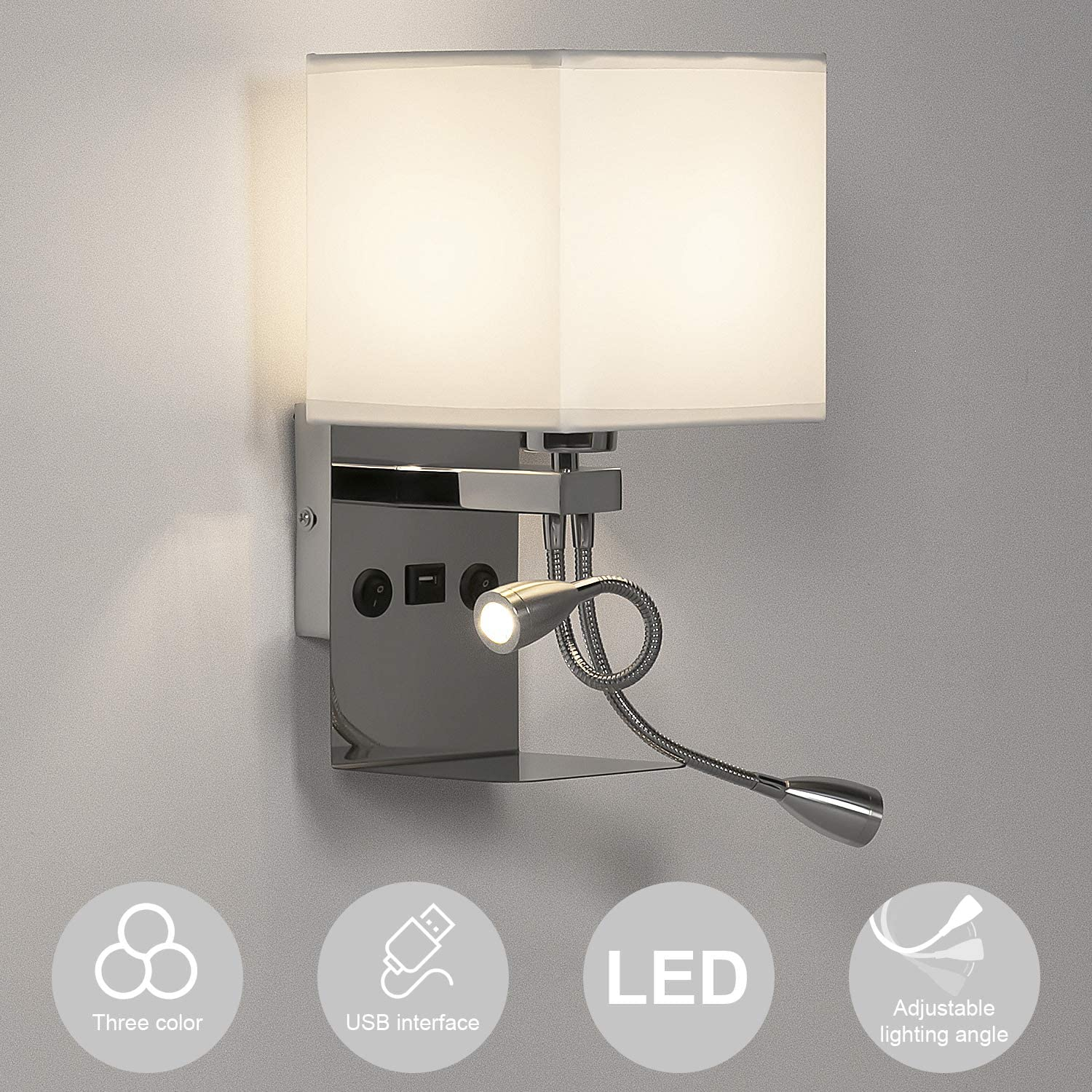 LEDMO Lámpara mesita noche, Aplique pared dormitorio lectura interior regulable e27, Lampara de pared con 2 luces de lectura flexibles ajustables y 1 interfaz USB (incluida bombilla regulable)