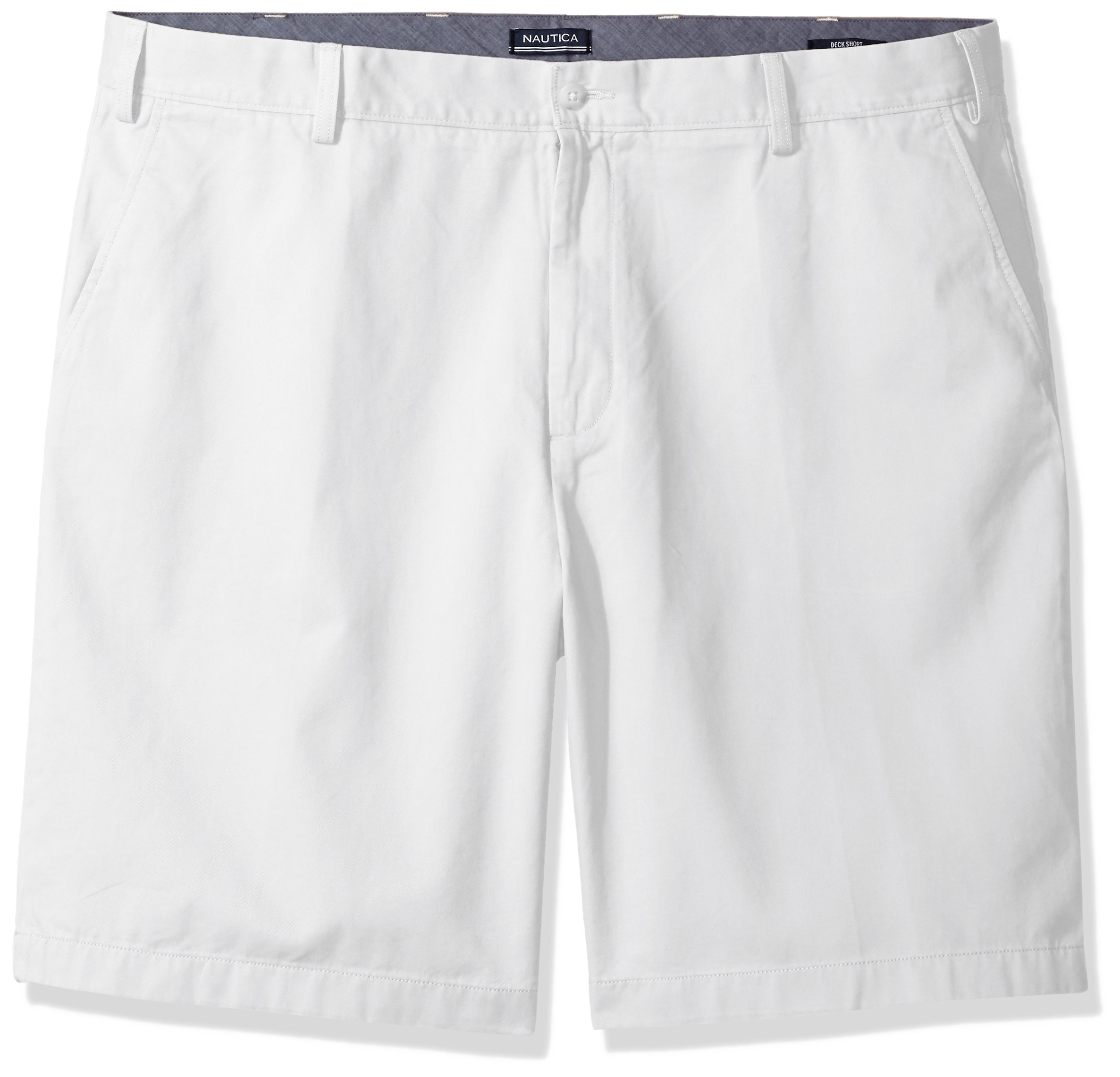 Nautica Men's Big and Tall Cotton Twill Flat Front Chino Deck Short-C92110, Bright White, 48W