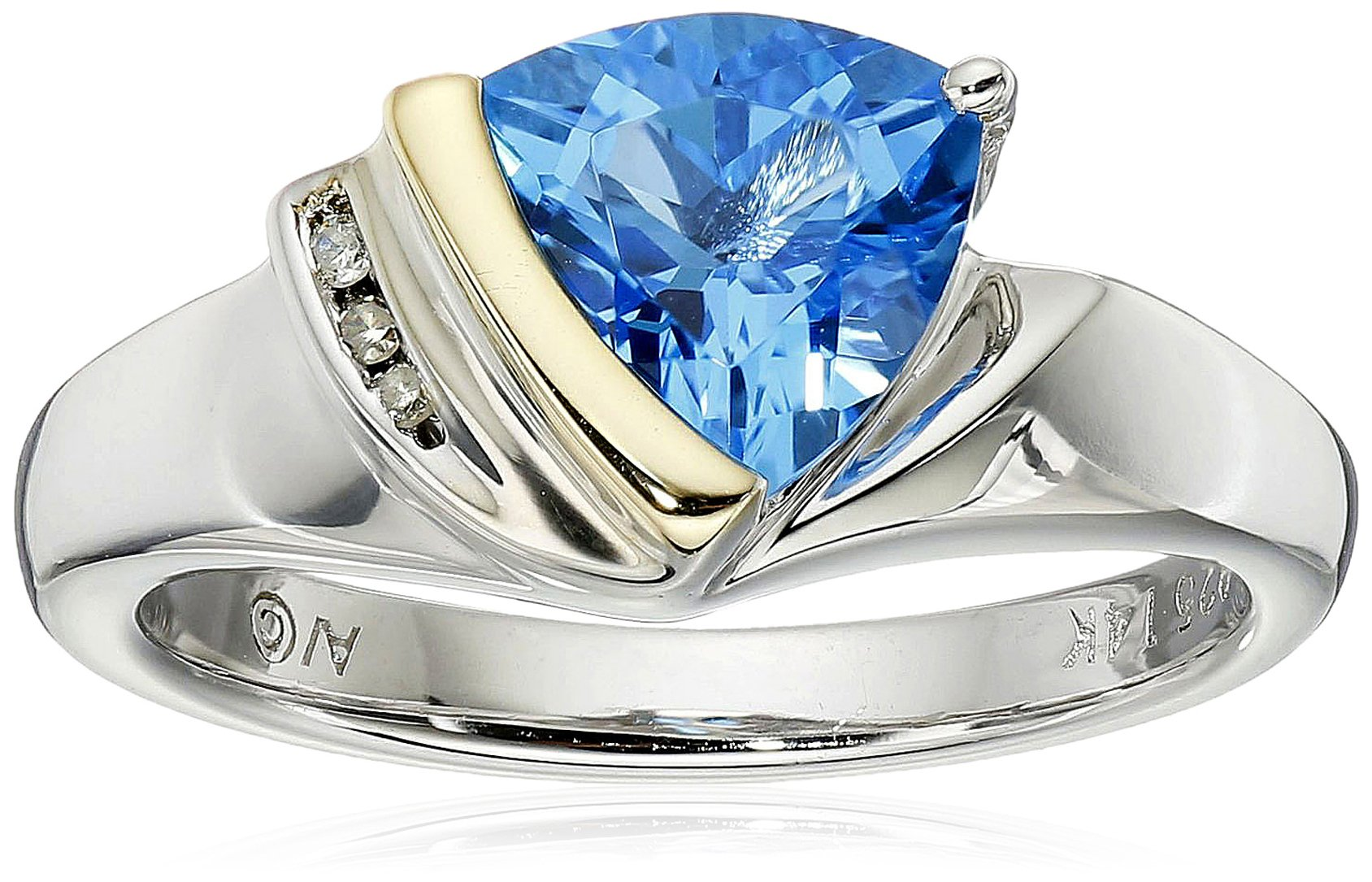 Sterling Silver and 14k Yellow Gold Diamond and Swiss Blue Topaz Trillant Shape Ring, Size 7
