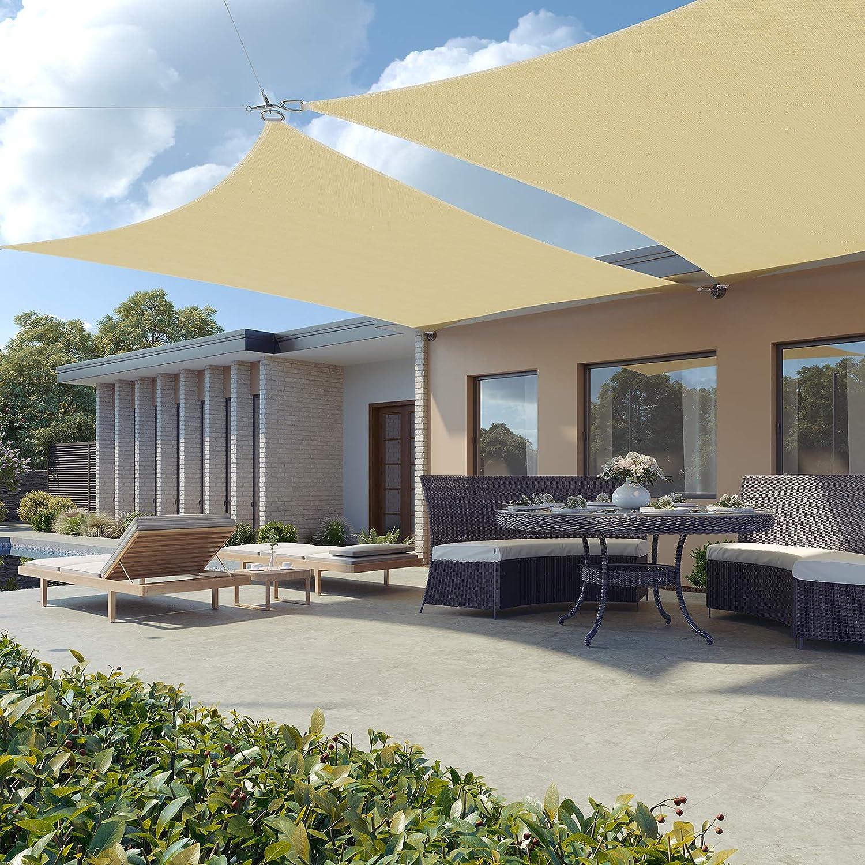 SONGMICS 3 x 3 m Tenda Parasole Vela Ombreggiante in HDPE Protezione Solare Protezione dai Raggi UV Respirante Permeabile Utilizzabile per Giardino Balcone Terrazza Panna e Giallo GSS33EYV1