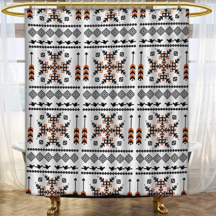 Lacencn Native AmericanShower Curtains With Shower HooksEthnic Pattern Composition Birds And