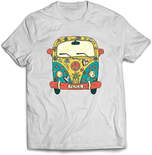 lepni.me Camisetas Hombre Años 60 70 Hippie Van, Flores, Amor, símbolo de Paz Libertad