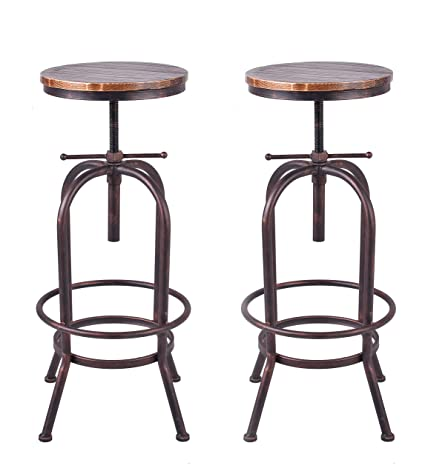 Amazon.com: 34 inch Vintage Industrial Bar Stool,Metal Wood ...