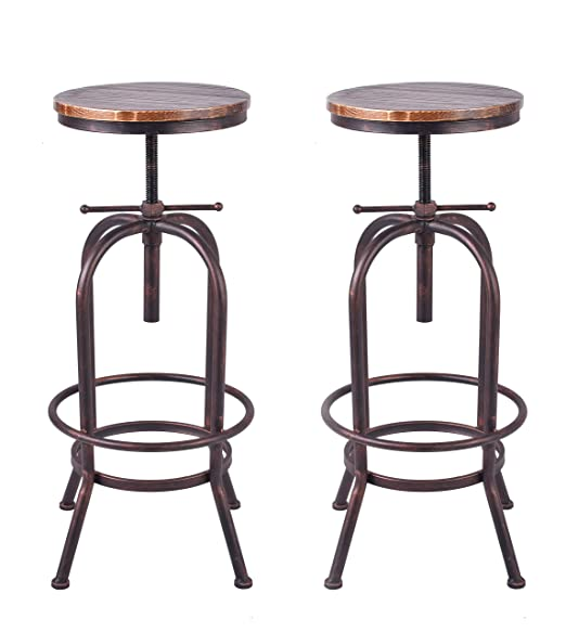 Swell Amazon Com 34 Inch Vintage Industrial Bar Stool Metal Wood Andrewgaddart Wooden Chair Designs For Living Room Andrewgaddartcom