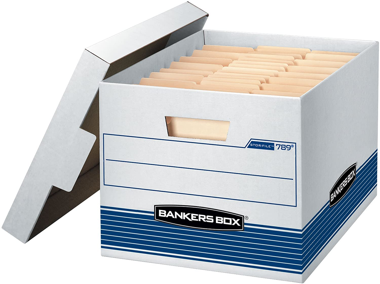 Bankers Box STOR/File Medium-Duty Storage Boxes, Quick Set-Up, Lift-Off Lid, Letter/Legal, 4 Pack (0078907)