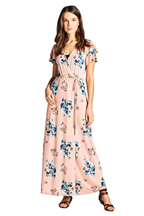 5d0756033287e On Trend Paris Short Sleeve Maxi Dress at Amazon Women's Clothing store:
