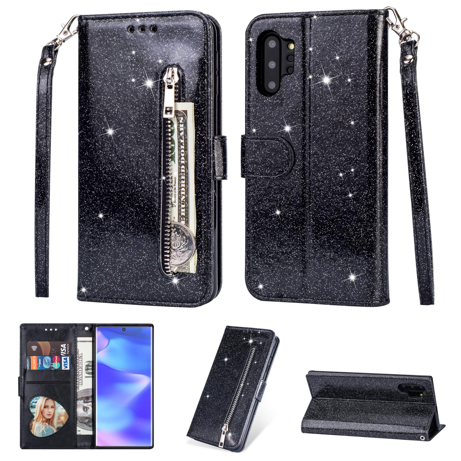 Tznzxm Galaxy Note 10+ Plus/5G /Pro Case,Luxury Bling Glitter PU Leather Magnetic Protective Flip Kickstand with Zipper Coin Credit Card Holder Cover Wrist Wallet for Samsung Note 10+ Plus Black by Tznzxm