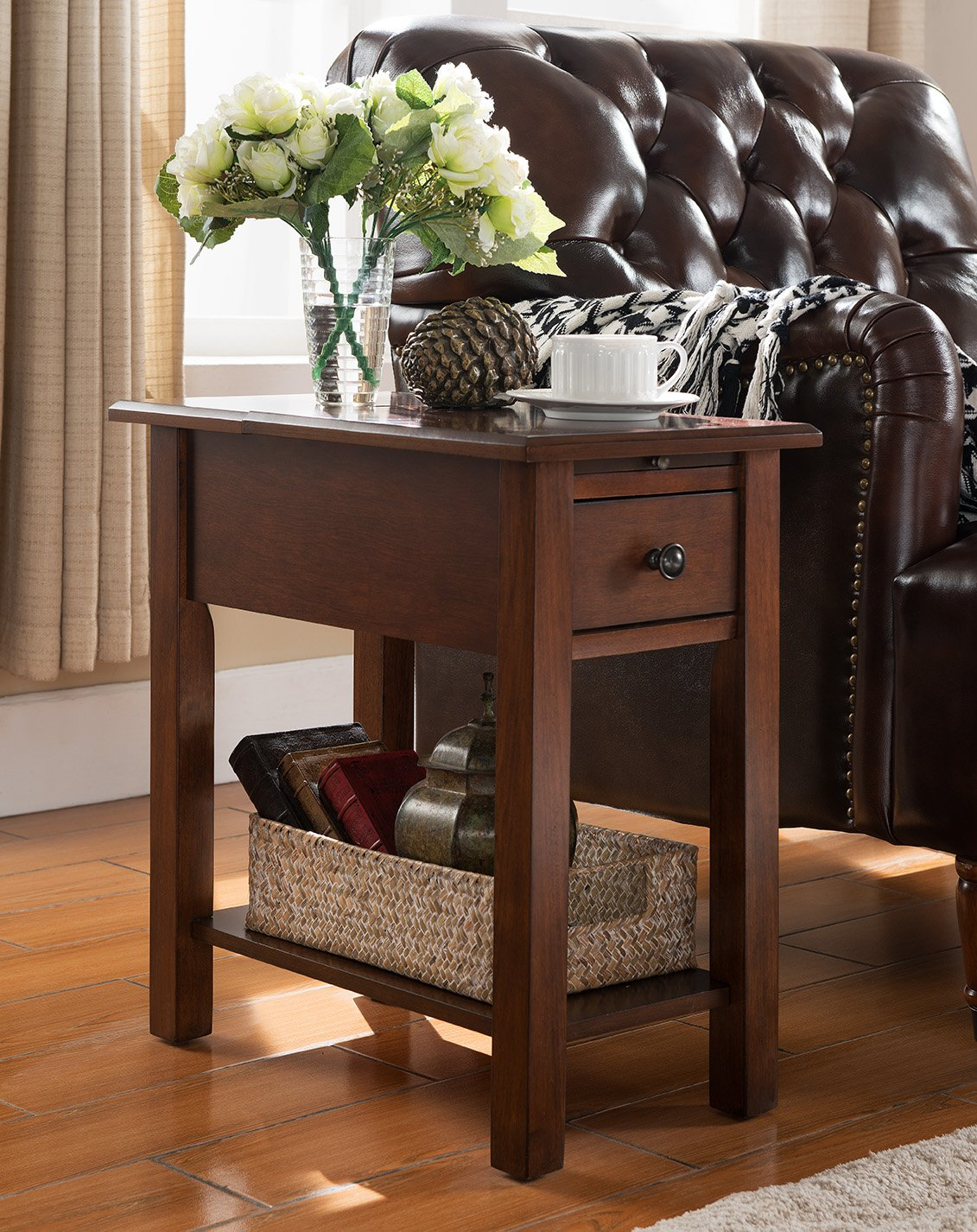 Side Table with Charging Station in Espresso OneSource Living OSL4