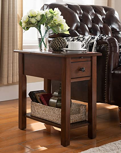 Attirant Side Table With Charging Station In Espresso