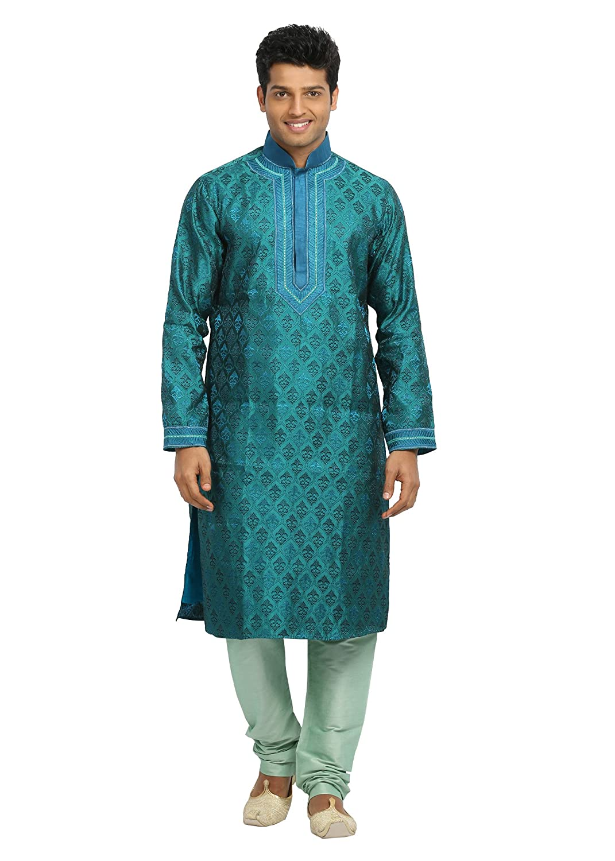 Saris and Things Electric Blue Indian Wedding Kurta Pajama for Men RK4090SNT-P