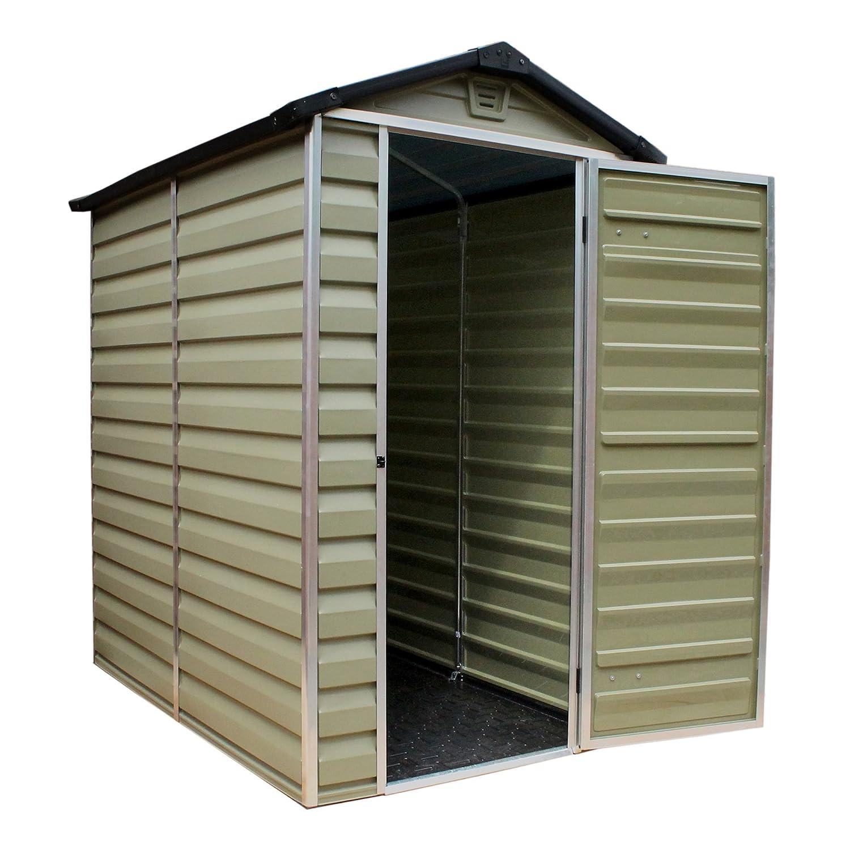 6 x 4 de jardín de plástico tornillo central y#x2666; Pétalo y almacenamiento cobertizos y#x2666; Palram verde de construcción y#x2666;: Amazon.es: Jardín