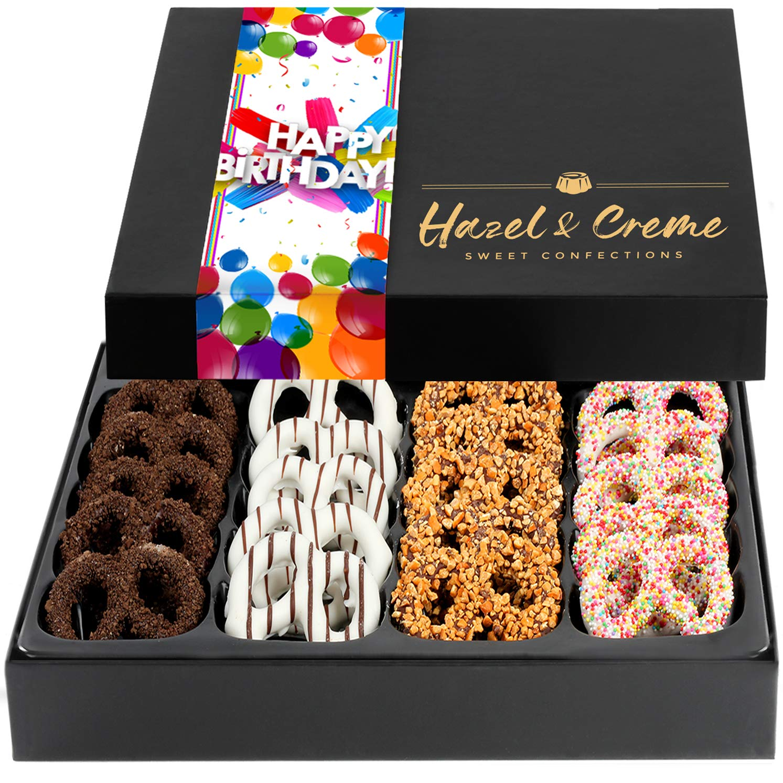Hazel & Creme Chocolate Covered Pretzels - HAPPY BIRTHDAY Chocolate Gift Box - Gourmet Food Gift (Extra Large Box)