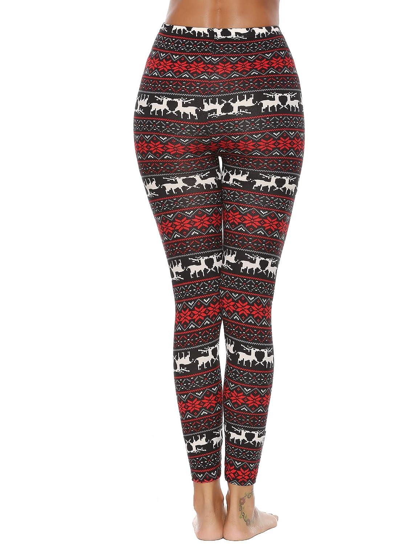 Abollria Womens Christmas Legging Xmas Reindeer Snowflake Workout Running Tights Leggings
