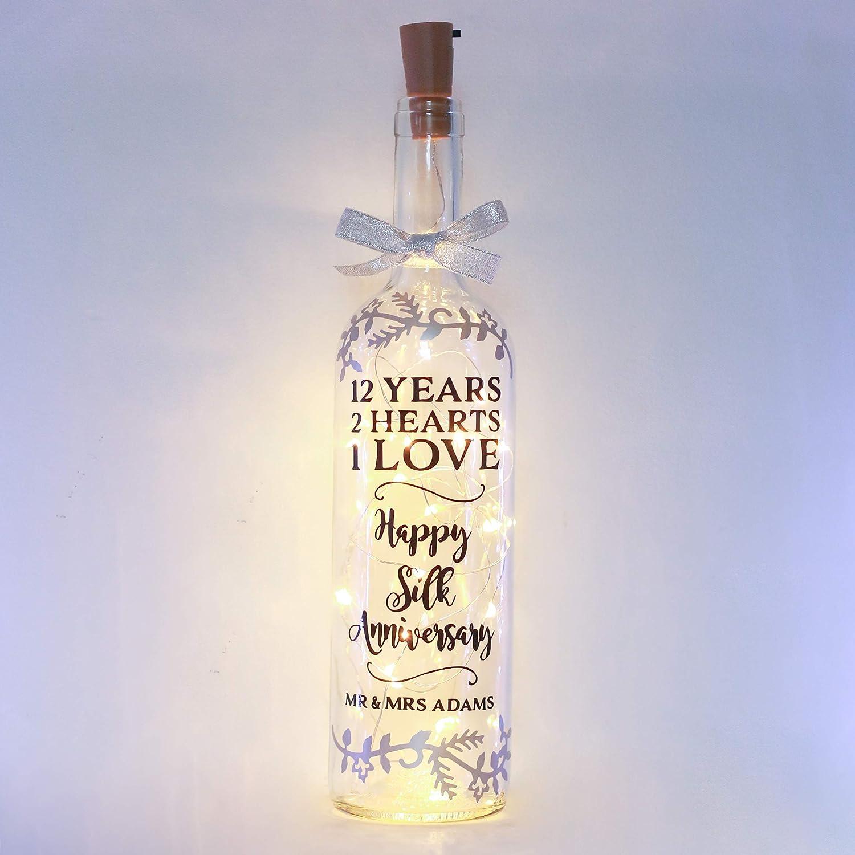 Personalised 12th Wedding Anniversary Gifts Silk Handmade Bottle Light For Best Friend Daughter Amazon Co Uk Handmade