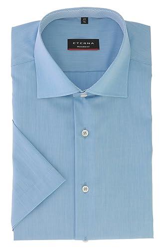 ETERNA Herren Kurzarm Hemd aus 100% Baumwolle Modern Fit mit Kent Kragen leicht tailliert geschnitte...