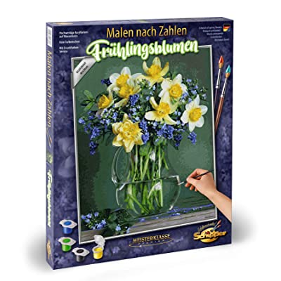 Noris Spiele Paint by Numbers – Schipper 609130789 Spring Flower Bulb Varieties – 40 x 50 cm, Colourful: Toys & Games