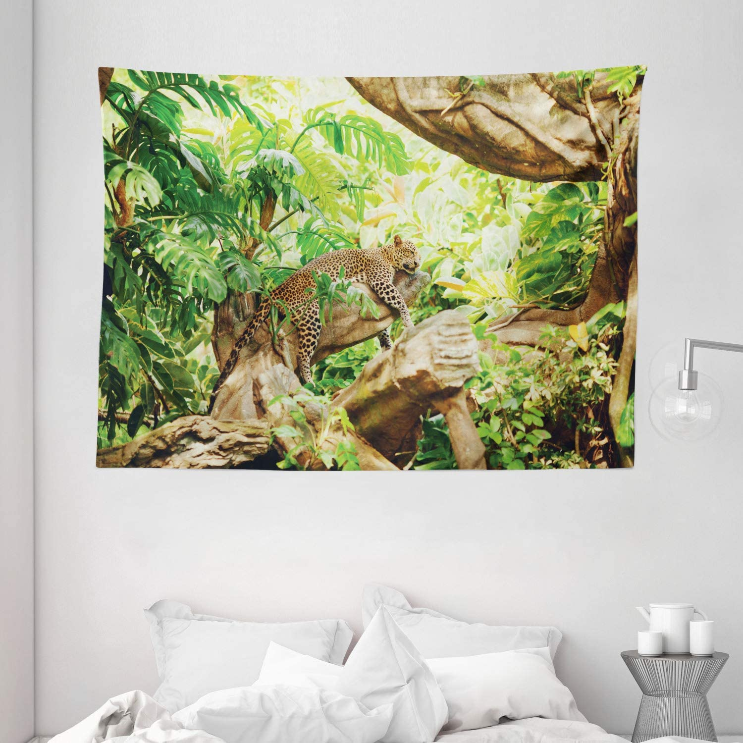 Ambesonne Safari Decor Tapestry, Leopard on The Branch in Savanna Exotic Macro Tropical Leaf Jungle Wild Nature Art Photo, Wall Hanging for Bedroom Living Room Dorm, 80 X 60 Inches, Brown Green