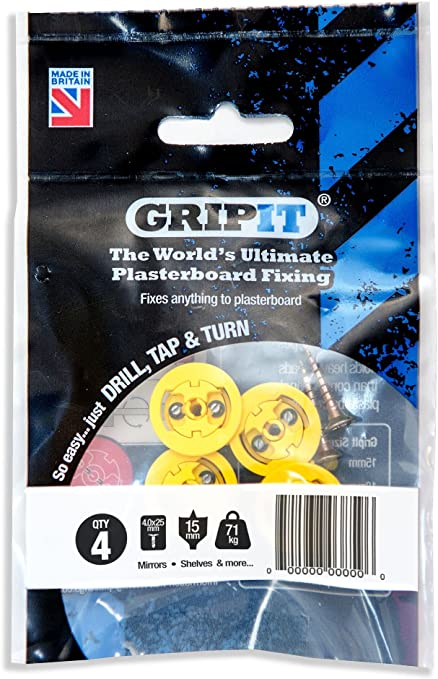 GRIP IT Yellow,Red,Brown,Blue Heavy Duty Plasterboard Fixings Dot /& Dab DIY Tool