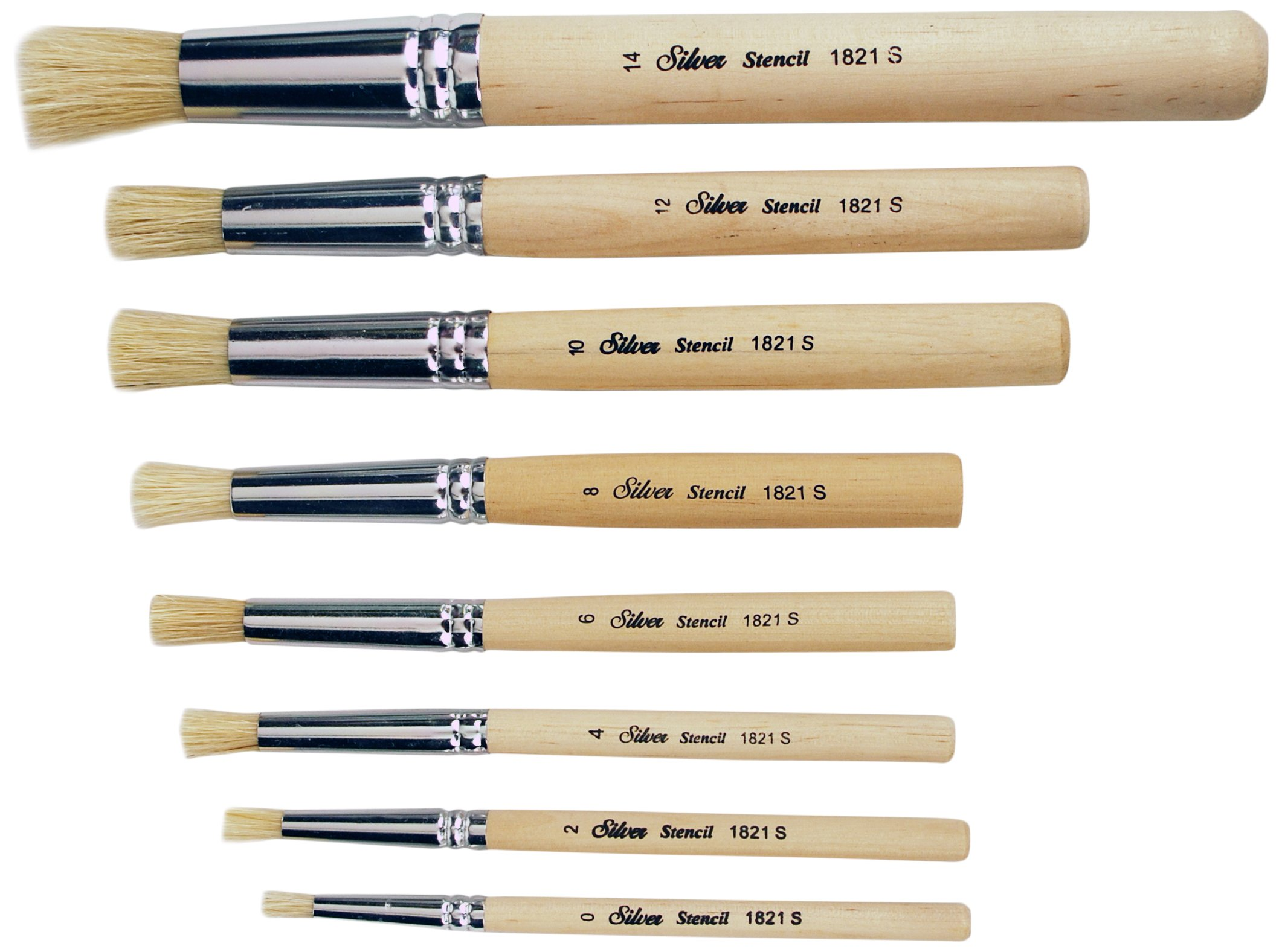 Silver Brush Limited SI-1808S 8-Piece Silver Stencil Brush Set by Silver Brush Limited