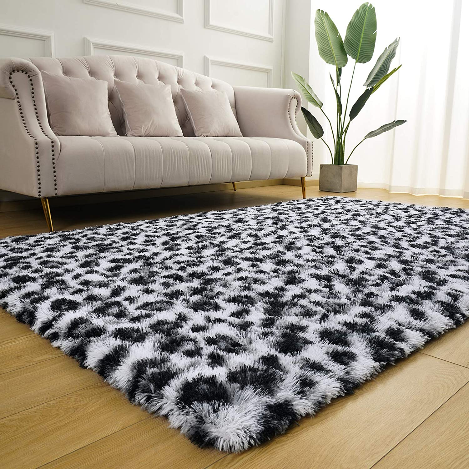 BENRON Fluffy Leopard Area Rug, 4x5.9 Feet Leopard Print Rugs for Bedroom Living Room Western Decor, Shaggy Black and White Animal Carpets for Kids Girls Nursery