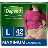 Depend FIT-FLEX Incontinence Underwear for Women, Maximum Absorbency, L, Tan, 42 Count (Packaging may vary)