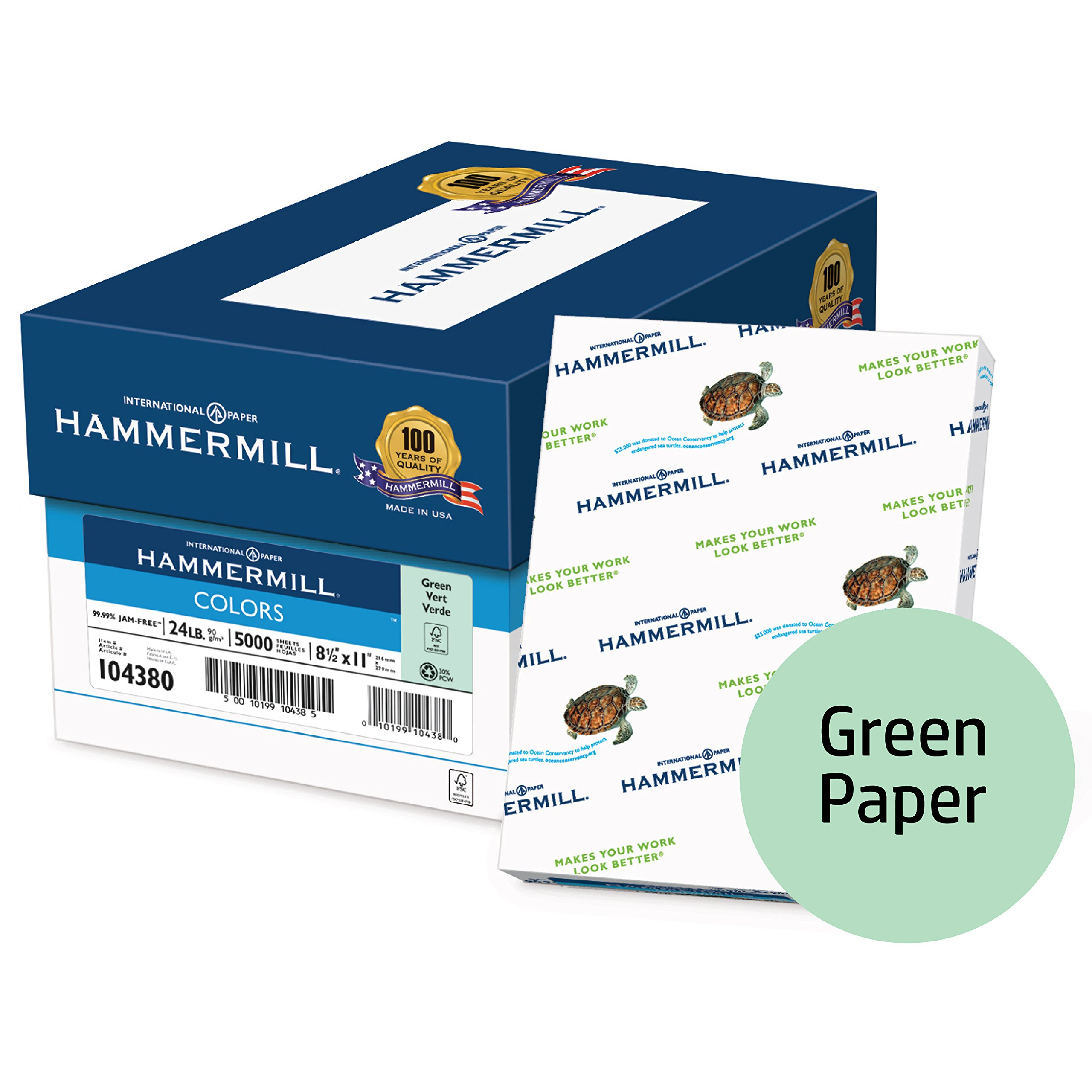 Hammermill Colored Paper, Green Printer Paper, 24lb, 8.5x11 Paper, Letter Size, 5000 Sheets / 10 ream Case, Pastel Paper, Colorful Paper (104380C)