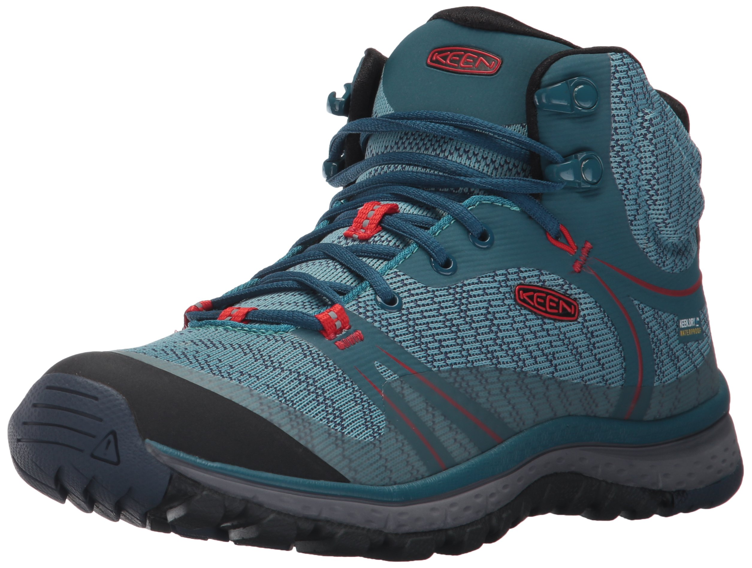 KEEN Women's Terradora Mid Wp-w Hiking Shoe, Blue Coral/Fiery Red, 9.5 M US