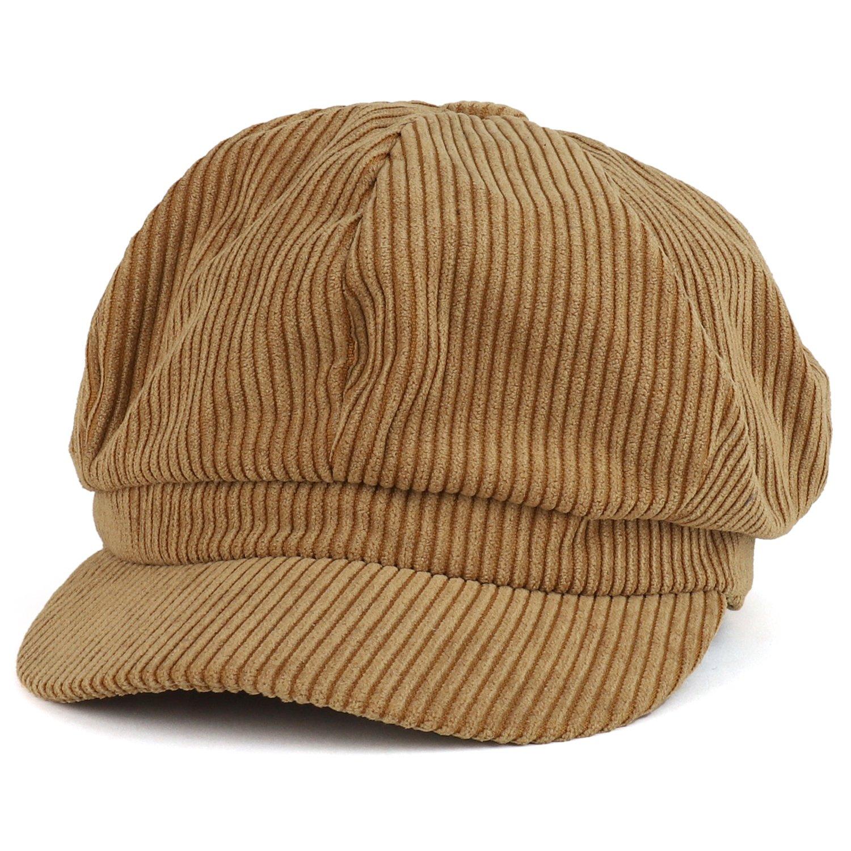 Trendy Apparel Shop Corduroy Textured Newsboy Style Cheyenne Cap - Taupe