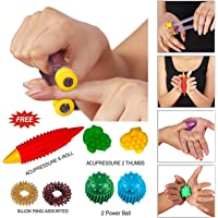 Super India Store Acupressure Finger Care Massager Sujok Rings Power Balls-Power Thumbs-Reflexology Chart For Hand/Feet